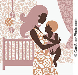Beautiful mother silhouette with baby in childrens room