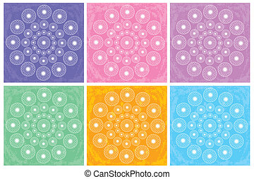 Colorful mandalas - set of six colorful mandalas on grunge...