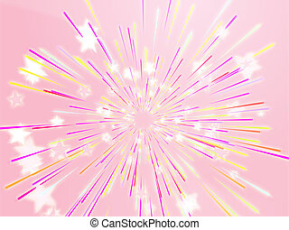 Bursting flying stars illustration - Central bursting...