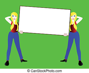 Sign Girls - Two girls holding a white sign against a green...