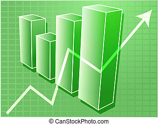 Financial barchart illustration - Three-d barchart and...