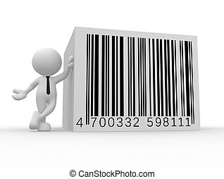 Businessman - 3d people - man, person with a bar code...