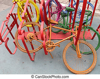 Colorful bicycles - Colourful bikes in the city of...