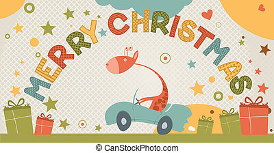 cute merry Christmas card with giraffe - Christmas card with...