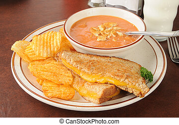 Soup and sandwich - Cheese sandwich with tomato soup and...