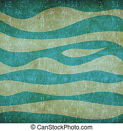 Abstract waves vintage pattern - Abstract blue waves vintage...