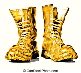 golden combat boots - golden combat boots isolated on white...