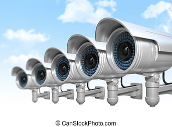 cctv and sky background - 3d cctv and sky background