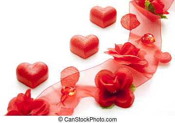 Decoration for special occasion with red hearts