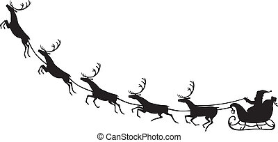 Santa Claus riding on a reindeer sleigh - Silhouette of...