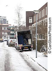 Moving house in the snow in the Netherlands