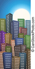 Summer Or Spring Cityscape Height Background