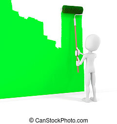 3d man painting a wall