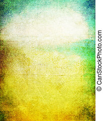 Old canvas: Abstract textured background with blue, yellow,...