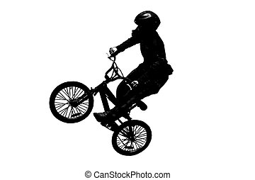 bike jump - jump with a mountain bike silhouette on a white...
