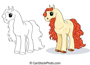 Little cartoon horse with red mane and tail on a white...