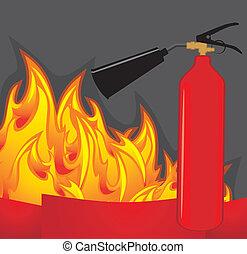 Extinguisher on fiery background