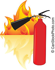 Flame and extinguisher Vector illustration