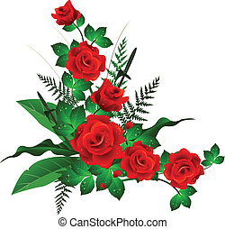 red roses with leaves background - vector illustration of...