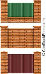 brick fence set of vector illustration EPS10. Transparent...