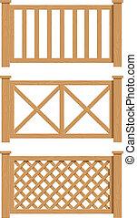 wooden fence set of vector illustration EPS10 Transparent...