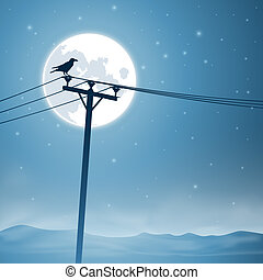 Telephone Lines - A Bird on Telephone Lines with Moon and...