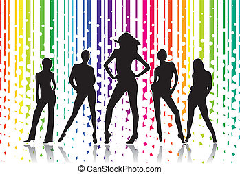 Woman silhouettes with rainbow background in editable vector...