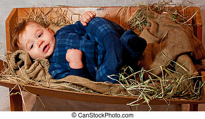 baby Jesus in a Manger - Baby Jesus in a rustic wooden...