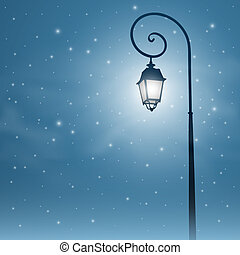 Street Light - An Old Street Light with Night Sky and Stars