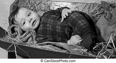 baby Jesus in a manger - Black and white rendered image of...