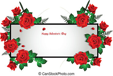 frame decoration with red rose - vector illustration of...