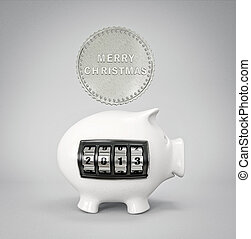 piggy - conceptual new year piggy isolated on a light...
