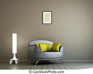 Livingroom with armchair and a lamp - Livingroom with...