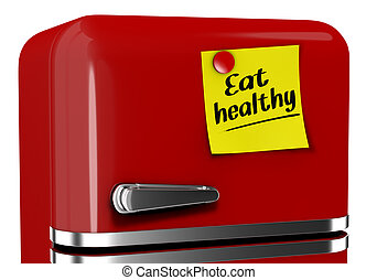 eat healhty - close up view of a refrigerator with a sticky...