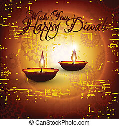 Vector diwali card design with shiny grunge background