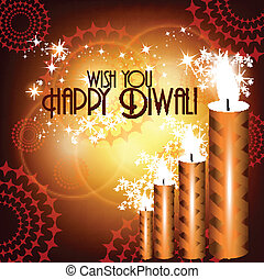 Vector diwali card design with shiny colorfull candle in...