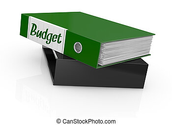 concept of budget - one office folder with a label with...