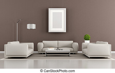 contemporary luonge - Contemporary livingroom with two...