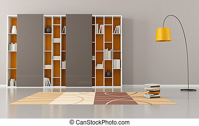 empty living room with bookcase