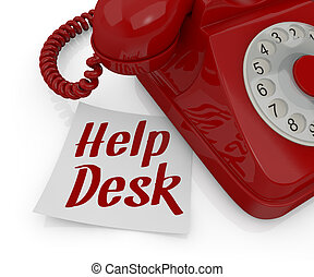 help desk - one vintage telephone with a sticky note and...