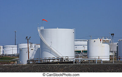 Oil Refinery Storage Tank - Several storage tanks at an oil...