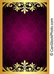 frame with gold ornament - Vector maroon frame with gold...