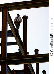 Focus - An ironworker walking across a high beam