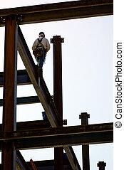 Focus - An ironworker walking across a high beam.