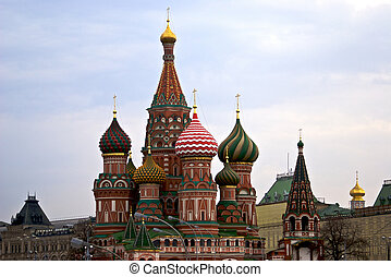 Saint Basil cathedral in Moscow - Saint Basil cathedral on...