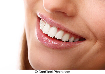 Beautiful smile close up with perfect teeth - Beautiful...