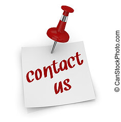 contact us - one sticky note with a pin and text: contact us...