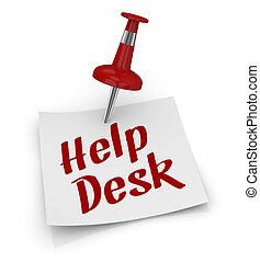 help desk - one sticky note with a pin and text: help desk...