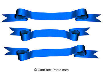 Blue Ribbons - Blue ribbons with bank space for text -...