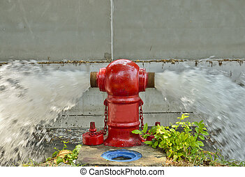 Red Fire Hydrant Gushing Water flow